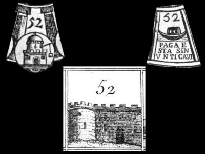 La casella n. 52 in tre diversi tavolieri di Giochi dell'Oca